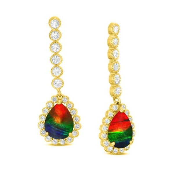 Ammolite Earring AAA Natural Ammolite Set 14K Diamond Gold with certifcate