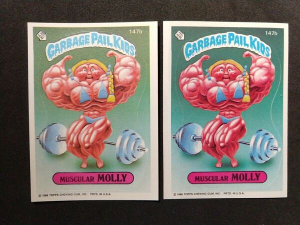 Garbage Pail Kids Series 4. Muscular Molly light and dark colors. OS4. 1986