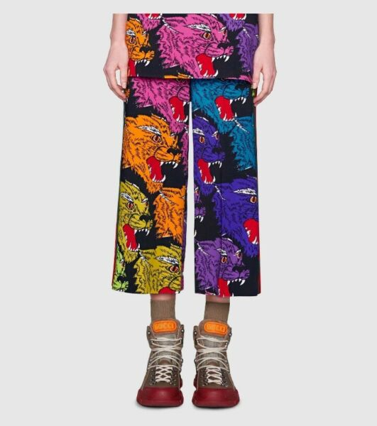 New Authentic Gucci Panther Face Rainbow Wide Leg Web Cropped Viscose Pants  42