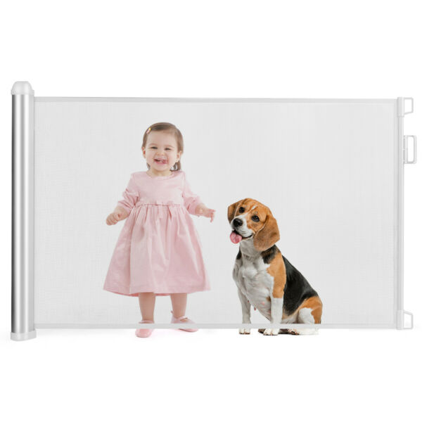 Baby Retractable Mesh Gates Pets Safety Gate with Easy Latch & Flexible Design