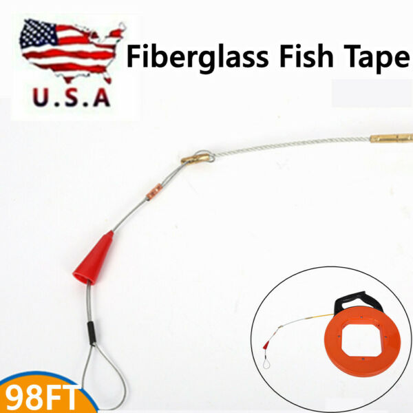 Fiber Glass Fish Tape Reel Puller 4mm*30m Fiberglass Electrical Wire Cable US $25.99