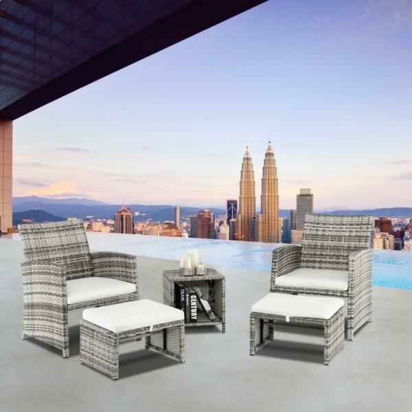 5PCS Outdoor Patio Rattan Wicker Sofa Furniture Set Footstool w Cushions $179.99