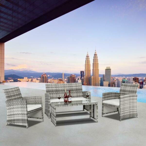 4PCS Outdoor Patio Rattan Wicker Furniture Set Loveseat Wicker w Cushioned $197.99