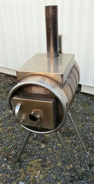 Stainless 10 Gallon Keg Wood Stove Barrel Burner Camping Shop Stove