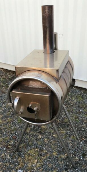 Stainless 10 Gallon Keg Wood Stove Barrel Burner Camping Shop Stove $875.95