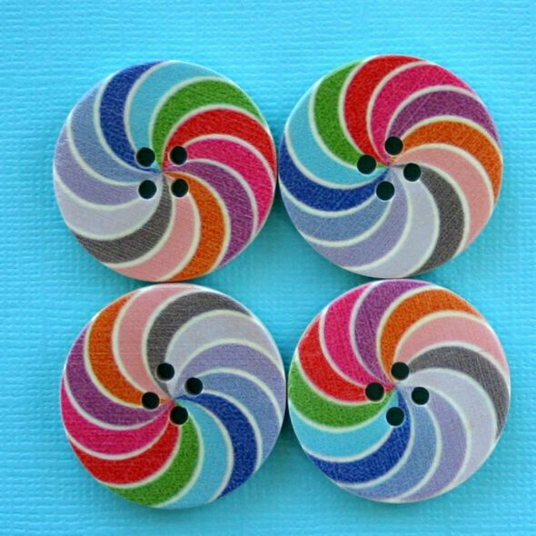 6 Large Wood Buttons Colorful Design 30mm BUT229