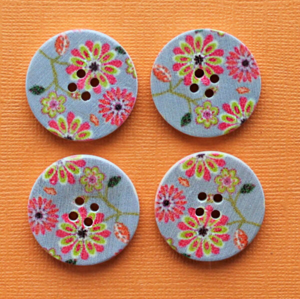 6 Large Wood Buttons Bohemian Abstract Design 30mm BUT313