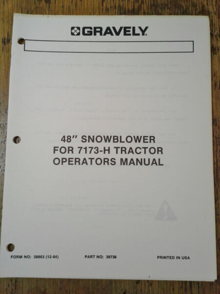 Gravely 48quot; Snowblower for 7173 H Tractor Operators Manual Form 38863