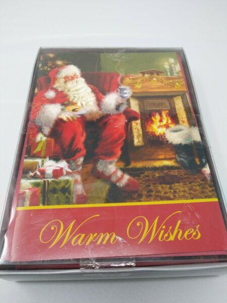 Christmas Greeting Cards Santa Tree Fireplace Box Of 16ct Vintage Kmart NEW