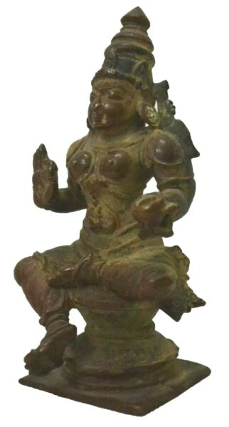 Goddess Laxmi Statue Vintage Copper Hindu Lord Idol Sculpture Collectible