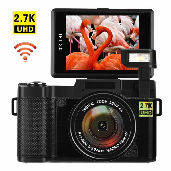 Digital Camera Vlogging 24MP Ultra HD 2.7K WiFi YouTube Camera 3quot; Flip Screen