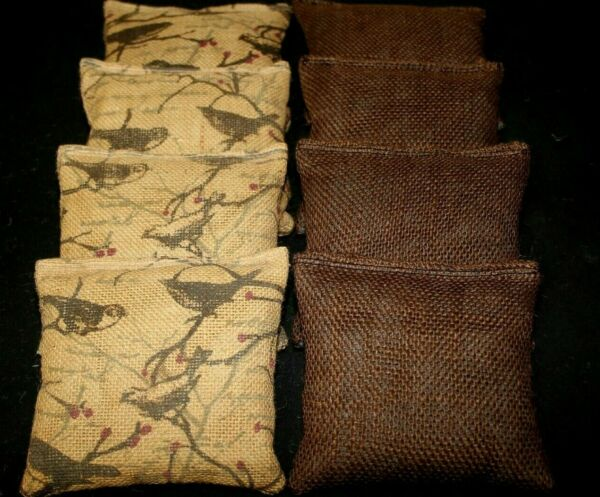 BROWN BIRD DECO Burlap BROWN Canvas Wedding 8 ACA Regulation CornHole Bags