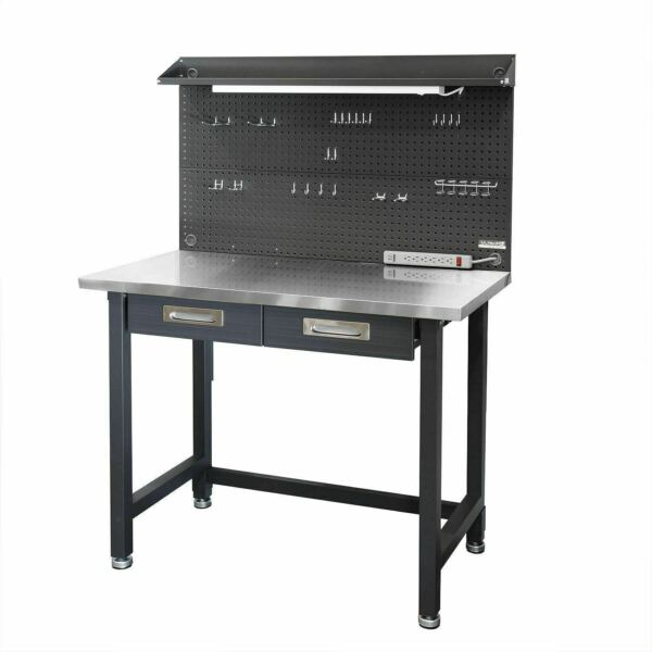 New Seville Classics UltraHD Lighted Stainless Steel Top Workbench