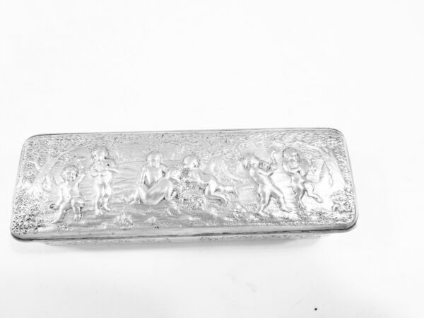 ANTIQUE ENGLISH GEORGIAN STERLING SILVER BOX DRAGONS  1820'S