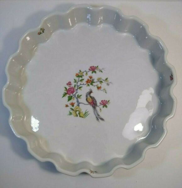 Vintage French Pie tart quiche Dish Fluted Golden Pheasant 12