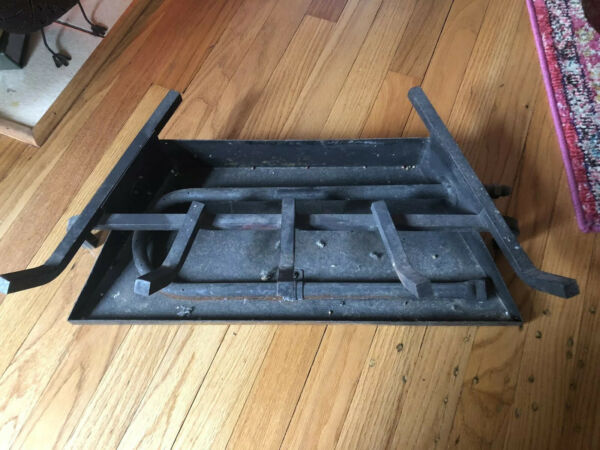 Gas Fireplace Iron Insert-Heavy Grate Pan And Burner With 12 Inch Adapter