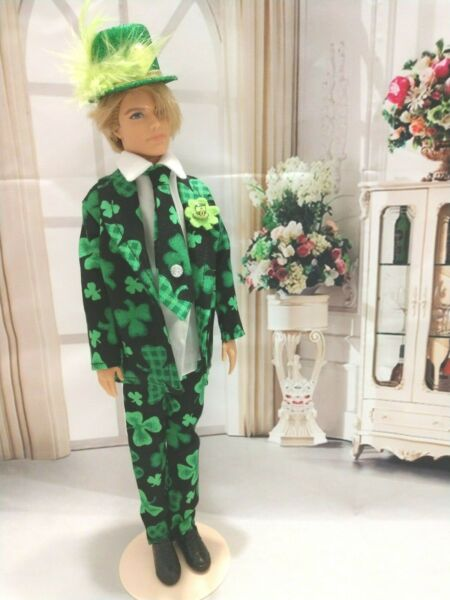 OOAK DOLL CLOTHES HANDMADEST PATRICKS DAY GREEN CLOVER SUIT ARTICULATED CLOTHES