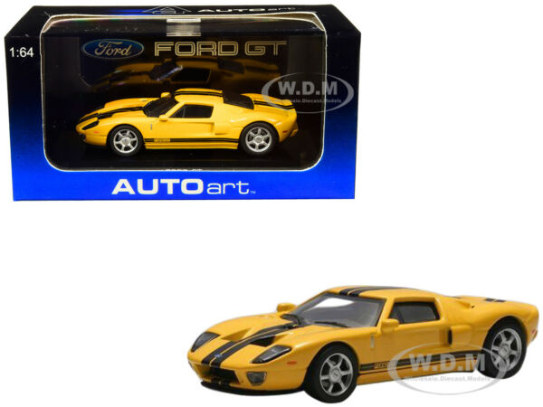 2004 FORD GT YELLOW WITH BLACK STRIPES 164 DIECAST MODEL CAR BY AUTOART 20352
