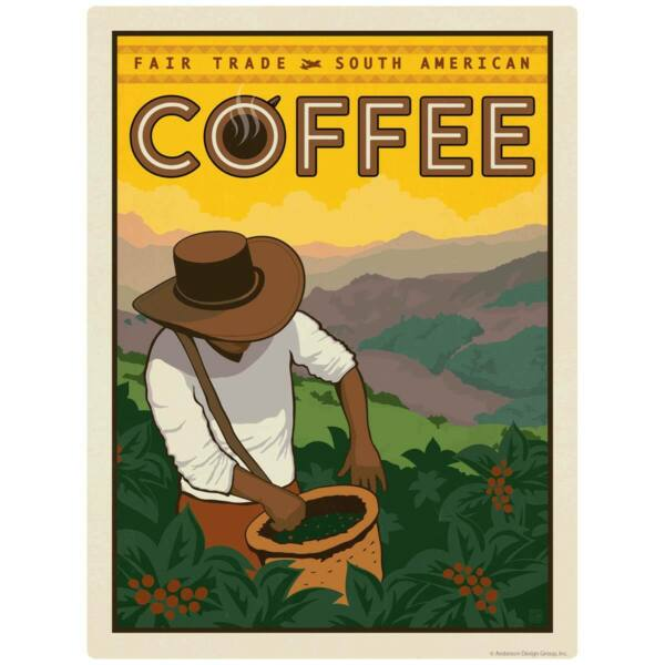 South American Coffee Fair Trade Decal Peel and Stick Decor