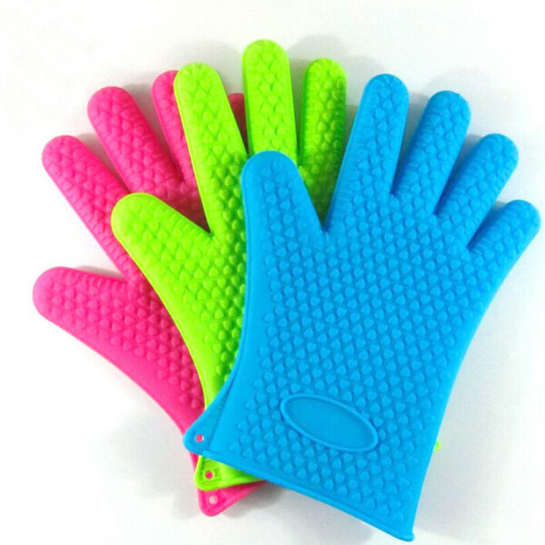 1 Cooking Mitts BBQ Silicone Heat Kitchen Holder Pot Grill Oven Gloves Resistant