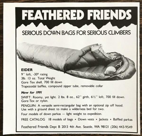 1991 Feathered Friends Seattle WA PRINT AD Serious Down Bags 4 Serious Climbers $7.59