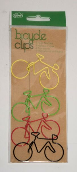 NPW Gifts Bicycle Shaped Paper Clips Set of 4 NIP