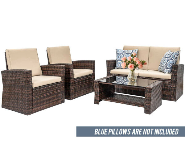 4 Pieces Outdoor Patio Furniture Sets Sectional Sofa Rattan Chair Wicker Set $296.99