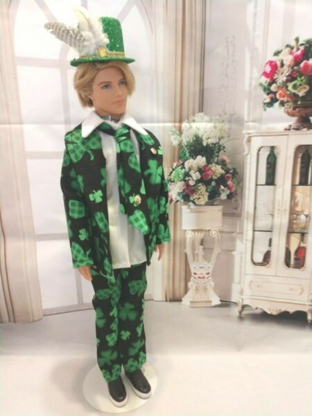 OOAK DOLL CLOTHES HANDMADE FOR ST PATRICK'S DAY GREEN CLOVER SUIT CLOTHES