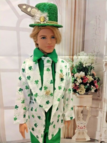 OOAK DOLL CLOTHES HANDMADE FOR ST PATRICK'S DAY GREEN & WHITE CLOVER SUIT