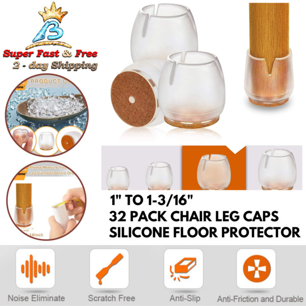 Chair Leg Floor Protectors Transparent Silicon Square Furniture Feet Noise Caps