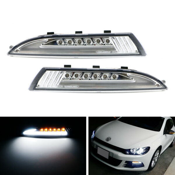 Clear Lens LED Daytime Light wSequential Turn Signals For 08-13 MKIII Scirocco