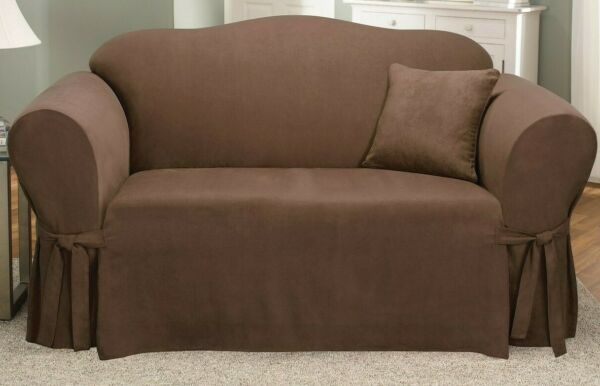 SureFit Loveseat SlipCover Stretch Soft Suede Chocolate 1 Piece Relax Fit NEW $56.99
