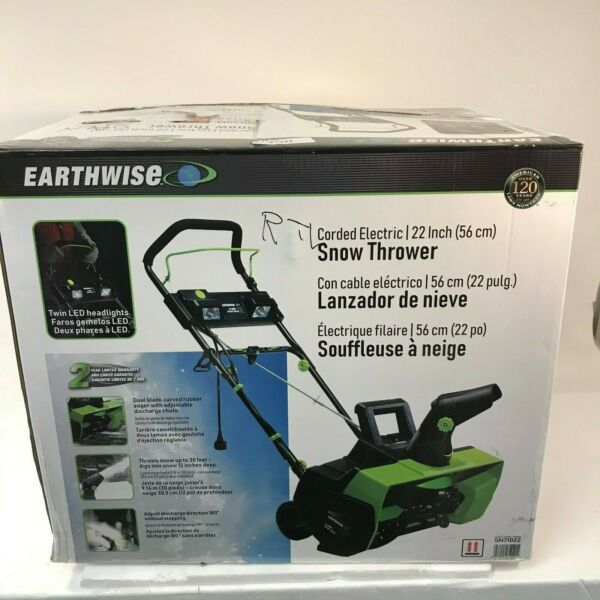 Earthwise 22 in. 14 Amp Corded Electric Snow Thrower with LED Lights SN71022