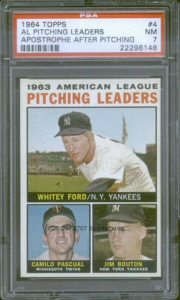 1964 Topps 4 PIT LDR Bouton Ford PSA 7 8148