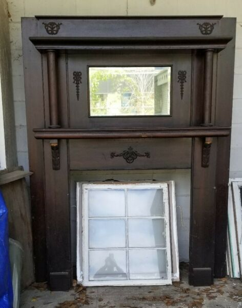 Antique Oak Fireplace Mantle Surround with Mirror (windows not included)
