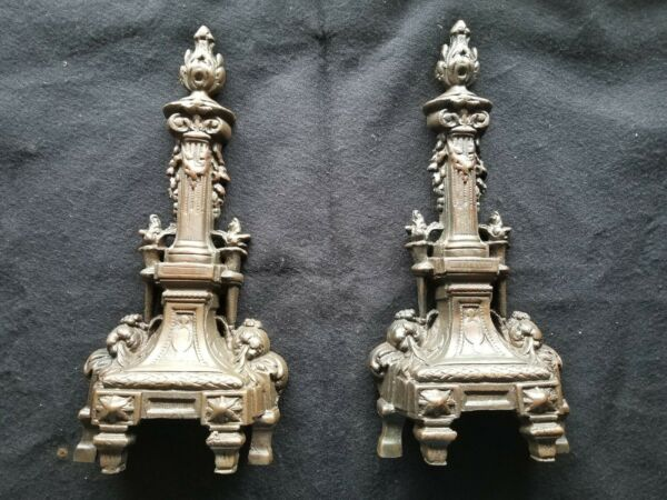 ANTIQUE FRENCH 19TH CENTURY BRONZE FIREPLACE CHENET ANDIRONS