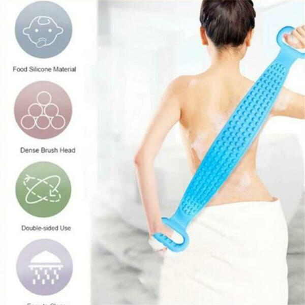 Silicone Back Scrubber Body Cleaning Tools Bath Belt Massage Brush Dual Sided US