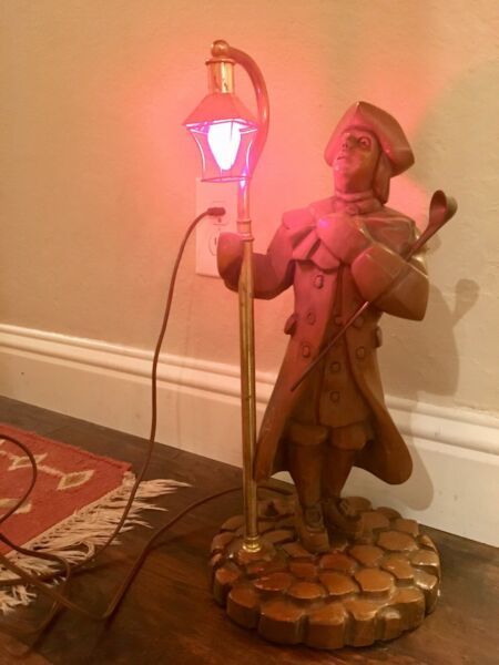 Vtg Colonial Carved Wood Lamplighter Table Lamp Man hat Wooden Light