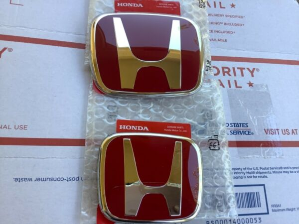 2pcs set Honda ACCORD 2018 20 JDM Red H Front Rear Type R grille grill emblem