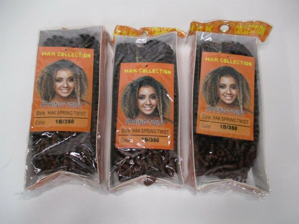Spring Twist 8 Inch 1B350 Crochet Braids Short Synthetic Extensions - Lot of 3