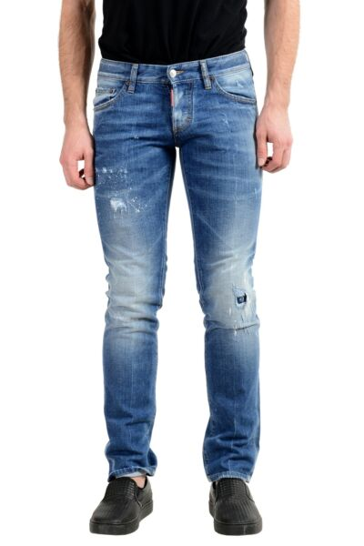 Dsquared2 quot;Slim Jeanquot; Men#x27;s Blue Stretch Ripped Skinny Jeans US 28 IT 44 $118.99