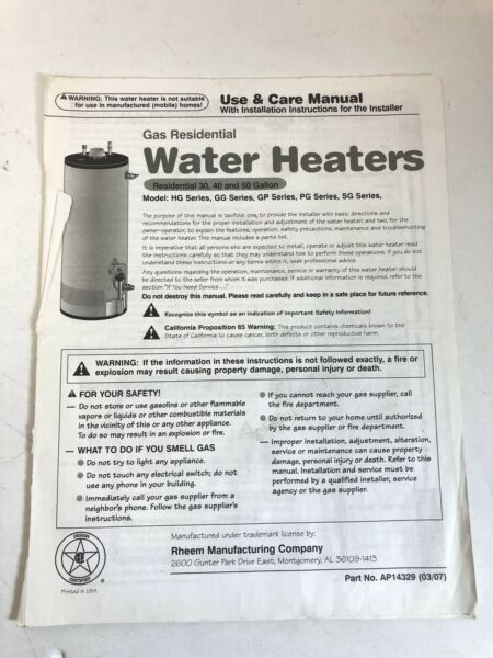 Rheem Water Heater Manual HgGGGPPGSG Series Gas Residential 304050 Gallon $29.25