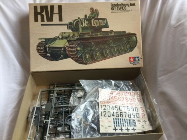 Vintage Tamiya KV 1 Type C Tank Model 1:35 Russian *Incomplete parts + box only