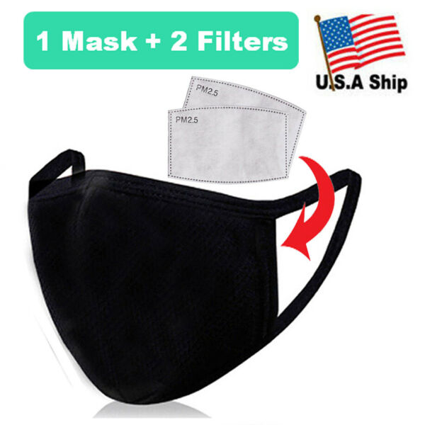 Protective 100% Organic Cotton 3D Face Mask with Filter Pocket and Carbon Filter