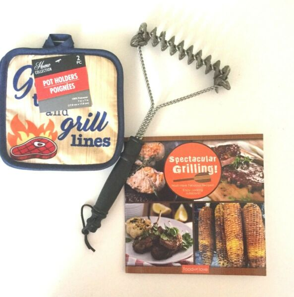 New Bristle Free Barbecue Grill BBQ Grate Brush Bonus Grill Cookbook and 2 Mitts