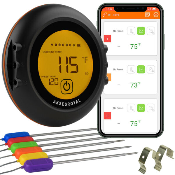 Wireless Meat Thermometer for Grilling 6 Probes Digital Cooking BBQ Bluetooth