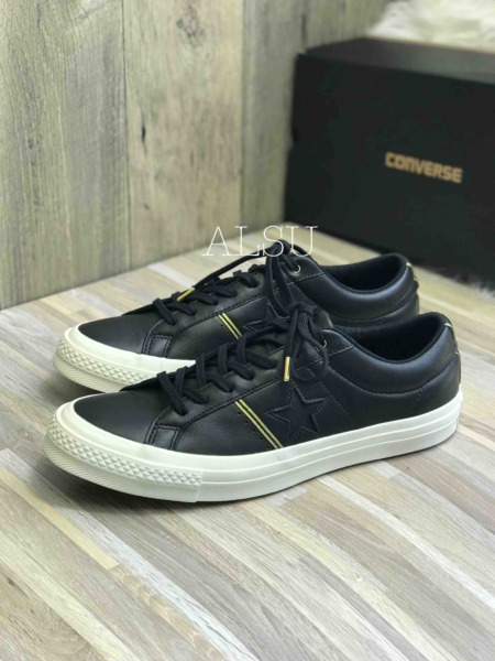 Sneakers Men's Converse One Star Leather Black Gold Low Top 159701C