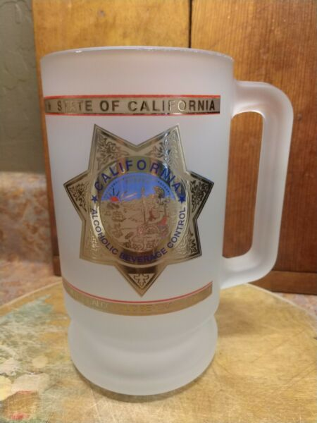 Funny Large Beer Mug #x27;California Dept Alcoholic Beverage Control Frosted Glass $14.00