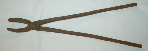 Vintage Black Smith Forged Wrought Iron Tool Long Handled Pliers