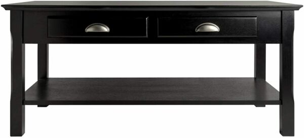 Home Furniture Living Room Coffee Table with 2 Drawers Black